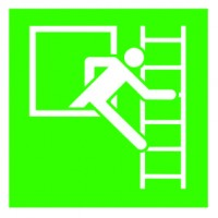 Emergency exit sign with escape ladder, right