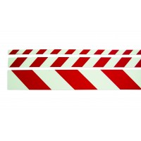 Warning strip pointing left red