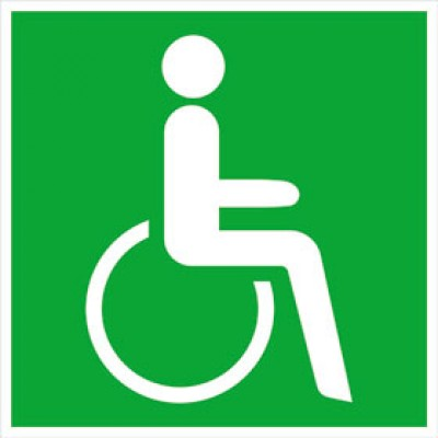 Emergency exit sign for wheelchair users