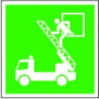 Emergency exit sign with acces to fire ladder