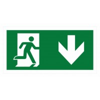 Emergency exit sign with arrow right and down ISO7010