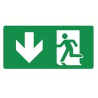 Emergency exit sign with arrow left and down ISO7010
