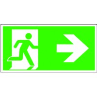 Emergency exit sign right to glue onto the wallmarkings