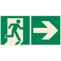 Emergency exit sign right with arrow right ISO7010+