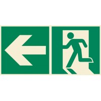 Emergency exit sign with arrow left ISO7010+
