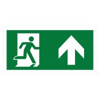 Emergency exit sign with arrow right and up ISO7010