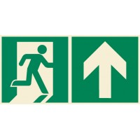 Emergency exit sign right with arrow up ISO7010+