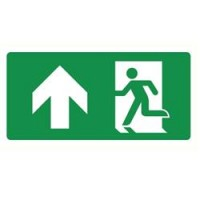 Emergency exit sign with arrow left and up ISO7010