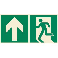 Emergency exit sign left with arrow down ISO7010+