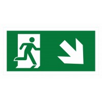 Emergency exit sign with arrow right diagonal down ISO7010