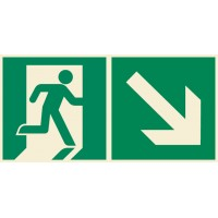 Emergency exit sign right with arrow diagonal down ISO7010+