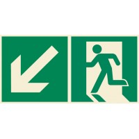 Emergency exit sign left with arrow diagonal down ISO7010+