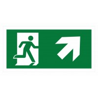 Emergency exit sign with arrow right diagonal up ISO7010