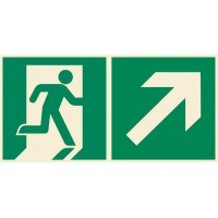 Emergency exit sign right with arrow diagonal up ISO7010+