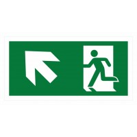 Emergency exit sign with arrow left diagonal up ISO7010