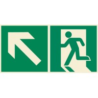 Emergency exit sign left with arrow diagonal up ISO7010+
