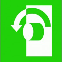 """Escape sign """"Opening by turning left"""""""
