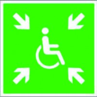 Assembly point sign for wheel chair users