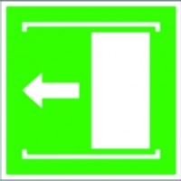 Sliding door opens to the left sign