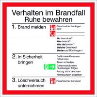 Behavior in case of fire sign, German