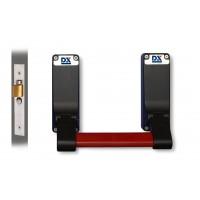 Panic exit hardware DX 305-series, single panic mortice actuator, basis black, push bar red