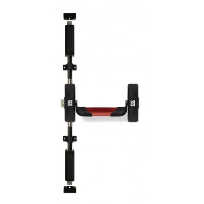 Panic exit hardware DX 5-series, three point locking with a rim panic latch and a top and bottom pullman latch, basis black, push bar red